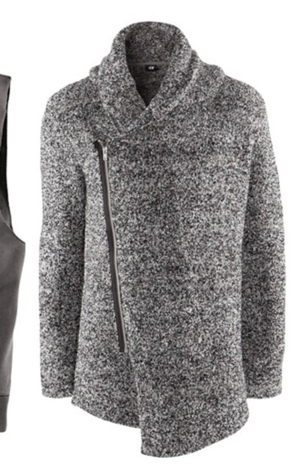 cardigan grey white