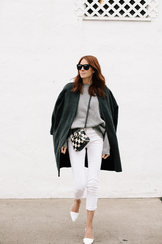 could i have that blogger bag shoes jeans coat sweater spring outfits white pants grey sweater checkered