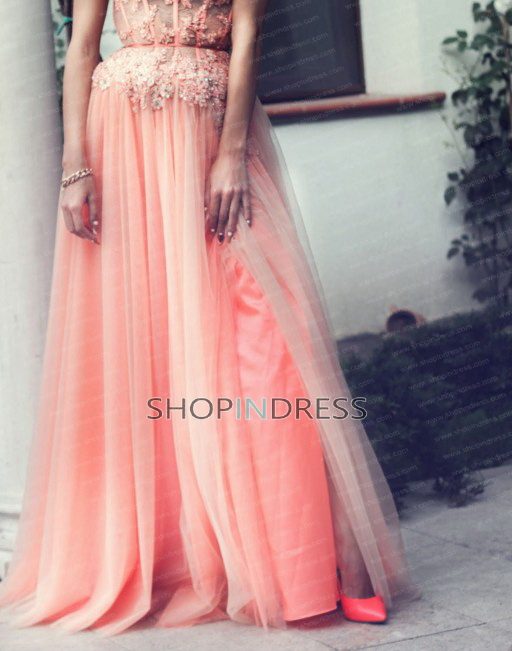 Shoulder floor length chiffon pink prom dress with appliques npd098033 sale at shopindress.com