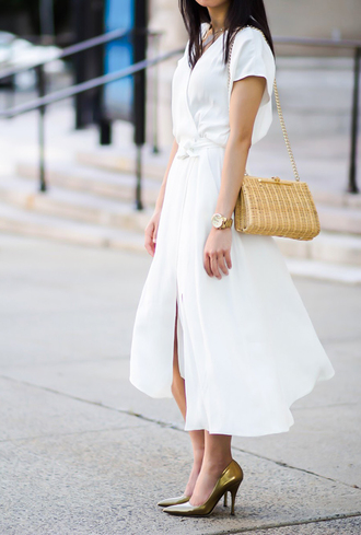 fastfood&fastfashion blogger dress jewels bag shoes pumps high heel pumps midi dress white dress summer outfits