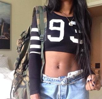 shirt black white stripes long sleeves crop tops number number tee tumblr girl tumblr
