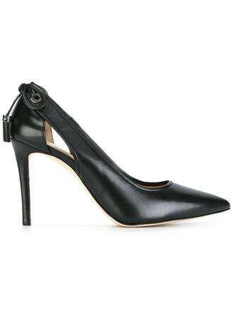 cut-out women pumps leather black shoes