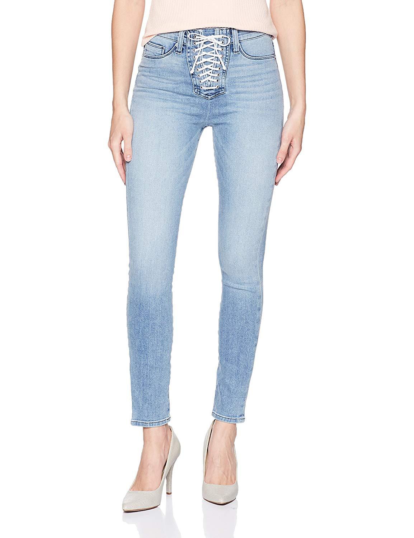 Hudson Jeans Women's Bullocks High Rise Lace Up Super Skinny 5 Pocket Jean at Amazon Women's Jeans store