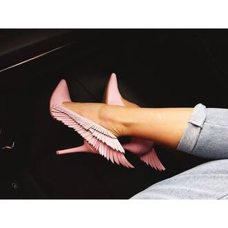 shoes pink angel wings pink stilettos angel wings pumps high heels pointy toe heels