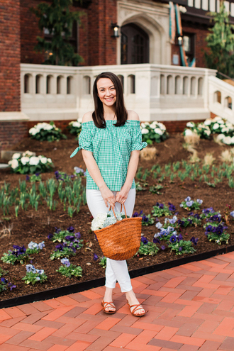 thecollegeprepster blogger top jeans shoes bag sandals gingham white jeans spring outfits