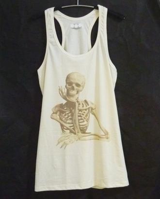 tank top skeleton shirt skull tank top racerback tank top workout shirt cute tank top