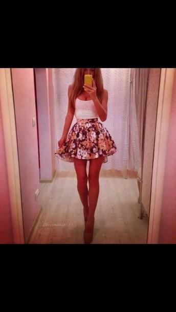 dress skirt floral skirt floral skater skirt skater skirt pink skirt floral design pretty flirty skirt fashion skirt white top tank too white tank top short skirt gorgeous