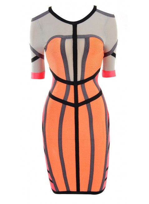 PriveClothing.com 'MISHA' CORAL COLOUR BLOCK MID SLEEVE BANDAGE DRESS - Bandage Dresses
