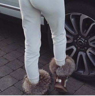 shoes brown fluffy ugg boots