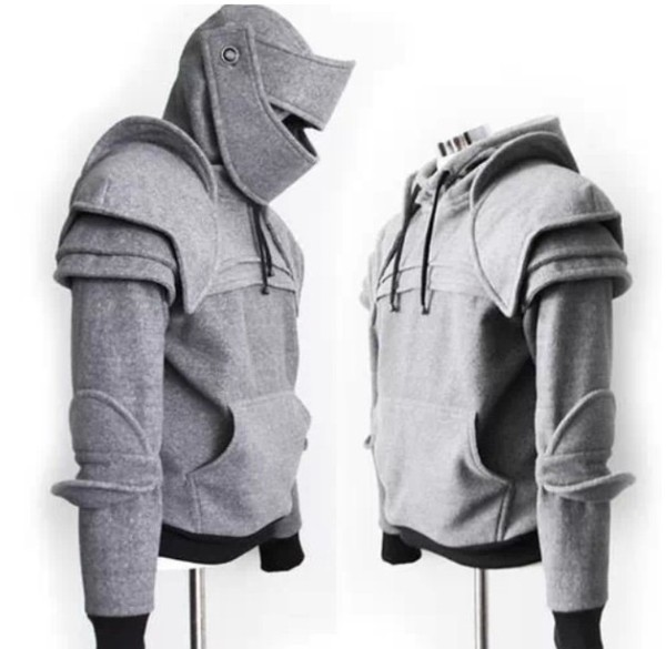 mens sweater menswear grey hoodie armour jacket grey sweater black sweater black sweater sweatshirt grey hoodie black hoodie top gray sweatshirt armor knight cosplay costume shirt hooded sweater