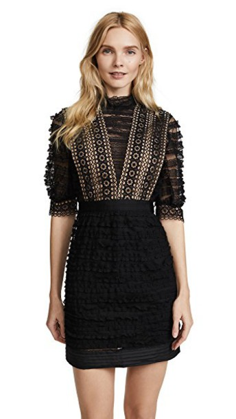 Self Portrait dress lace dress lace black