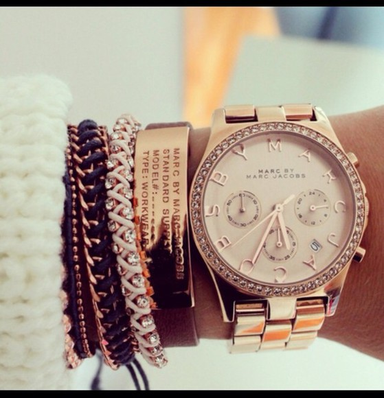 jewels marc by marc jacobs watch, bracelet, gold
