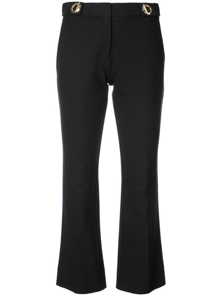 DEREK LAM 10 CROSBY flare cropped women spandex cotton black pants