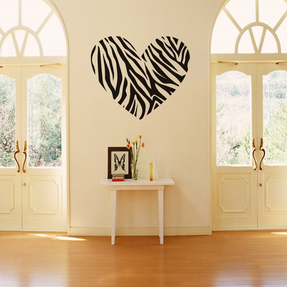 Amazon.com - Zebra Print Stripe Heart Wall Sticker Decal Mural Art ...