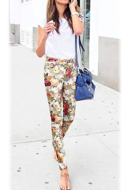 Women's floral printing straight slim fit casual pencil long pants online