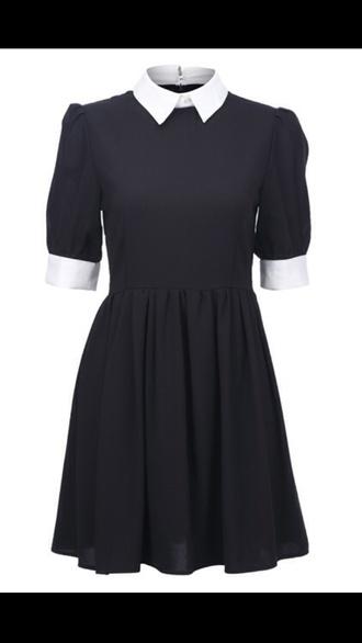 dress black white collar white collar dress
