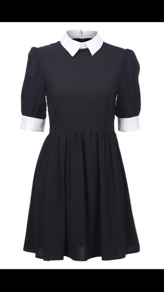 white collar dress black white collar dress