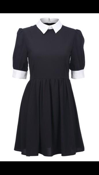 Dress white collar black white collar dress edit tags
