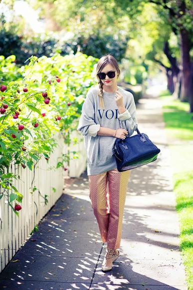 late afternoon pants sweater shoes sunglasses bag