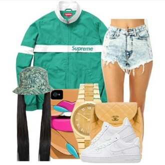 jacket teal blue green money bucket hat money cute dope supreme jacket windbreaker white shorts acid washed shorts blue high waisted destroyed jeans ripped shorts bucket hats iphone cover gold gold watch cc bag nike air force 1 straight hair shoes