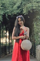 zebratrash,blogger,dress,bag,shoes,red dress,tie-front dress,round bag,summer outfits