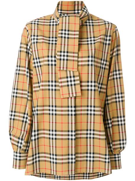 Burberry shirt vintage women cotton yellow orange top