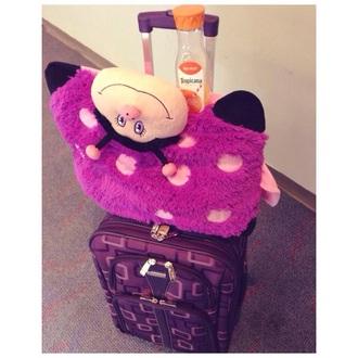 bag airplane suitcase suitcase luggage purple pockets cute airplane