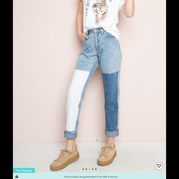 Jeans Multicolor Colorblock White Blue Denim Dark