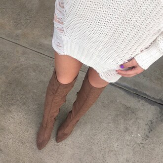 shoes boots tan over the knee boots over the knee sweater dress ivory thigh high boots thigh highs cozy outfit idea outfit gojane