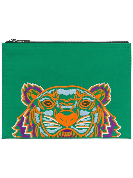 Kenzo women tiger clutch cotton green bag