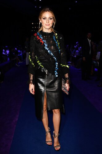 skirt sweater sandals milan fashion week 2016 olivia palermo blogger fall outfits shoes