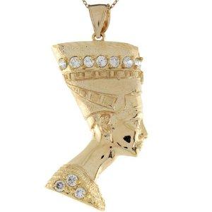 Amazon.com: 10k Yellow Gold White CZ Nefertiti Egyptian Goddess 5.1cm X 3.0cm Pendant: Jewelry