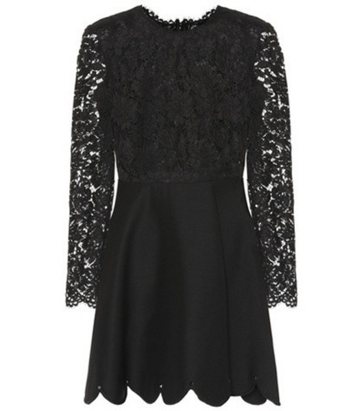 Valentino Lace silk and wool minidress in black