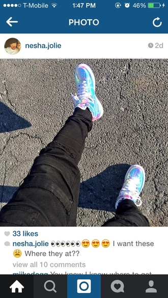 shoes sneakers colorful nike mirror air force ones