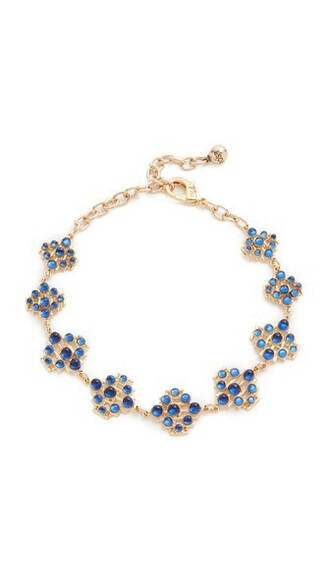 necklace choker necklace gold blue jewels