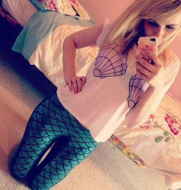 shirt mermaid tank top pretty pants leggings t-shirt