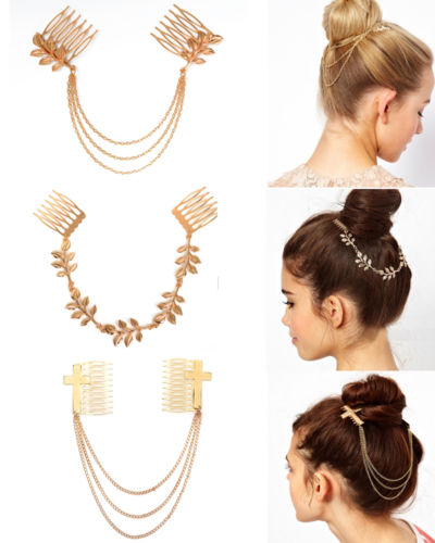 Women Bo Punk Chic Hair Cuff Pin Head Band Chains 13 Combs ...