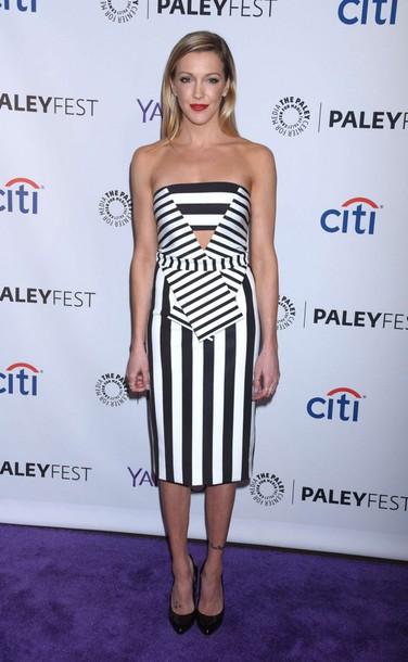 dress stripes strapless strapless dress katie cassidy midi dress
