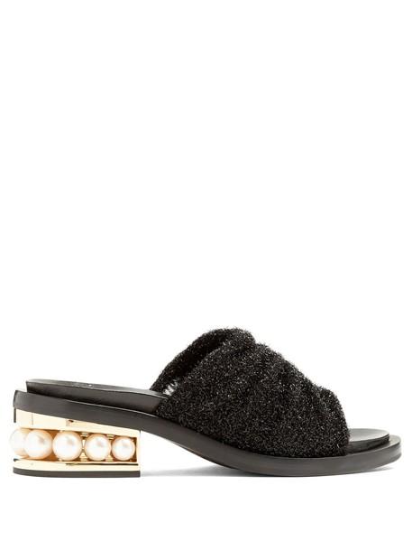 Nicholas Kirkwood pearl mules leather black shoes