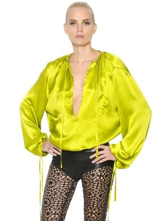 shirt silk satin light green top