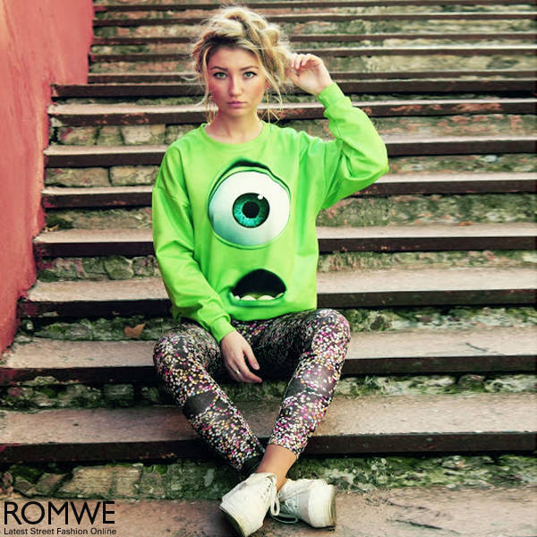 blouse monster green film eye women swag
