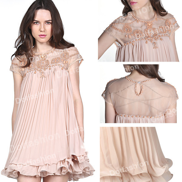 2014 Latest Autumn Korean Designer Vestido Stlye Cute Apricot Short Sleeve Lace Pleated Chiffon Short Dress Hot Sale Brand Women-in Dresses from Apparel & Accessories on Aliexpress.com