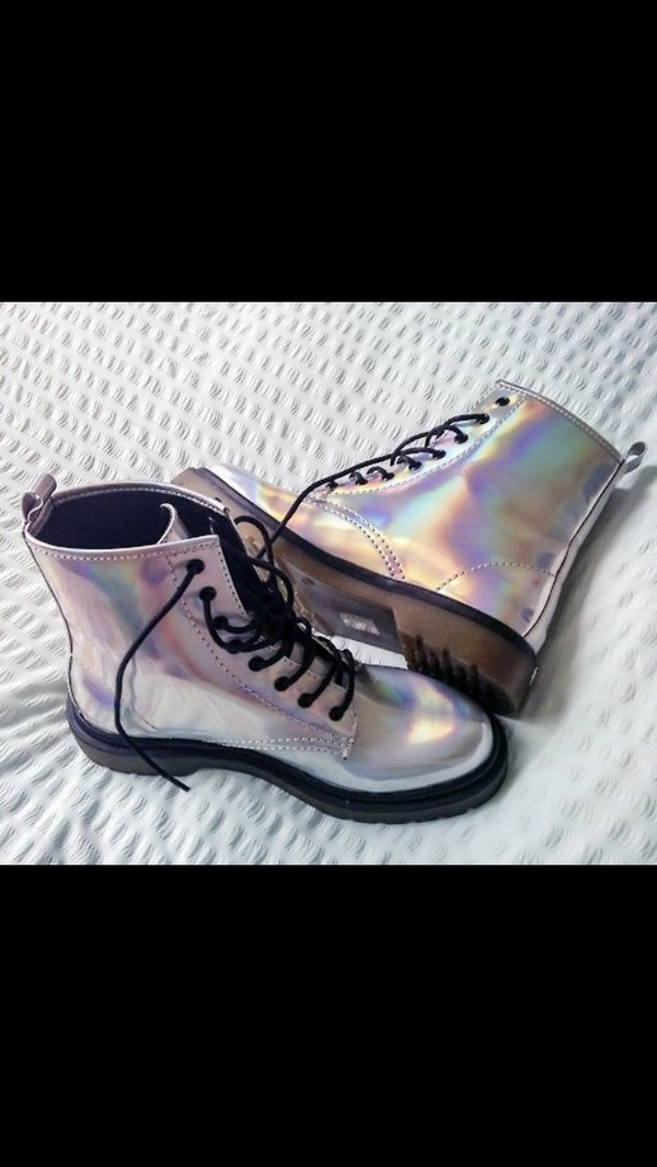 shoes boots rainbow iridescent flat boots combat boots