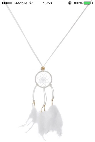 jewels necklace dreamcatcher white dress white feathers style
