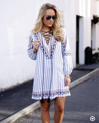 dress tumblr mini dress stripes striped dress long sleeves long sleeve dress lace up v neck sunglasses spring outfits spring dress