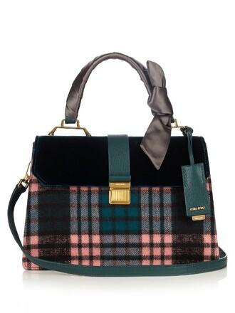 bag shoulder bag leather velvet green