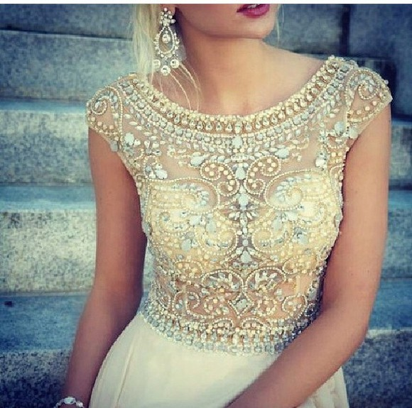 rhinestone jewels white dress