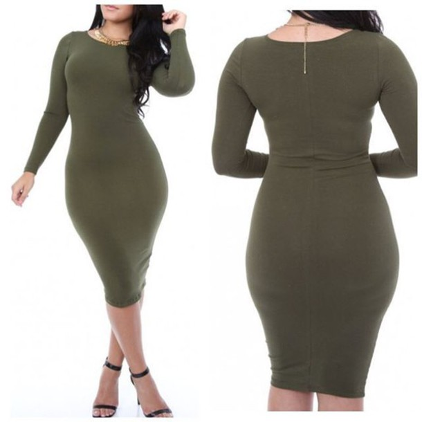 fc477916c36c dress olive green midi dress midi bodycon dress bodycon long sleeves fall  outfits fall dress classy