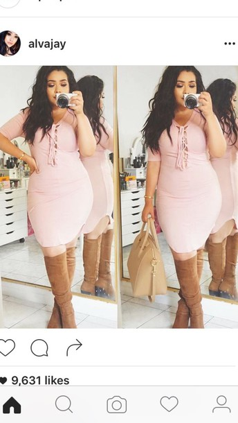 dress light pink pink half sleeve lace up round