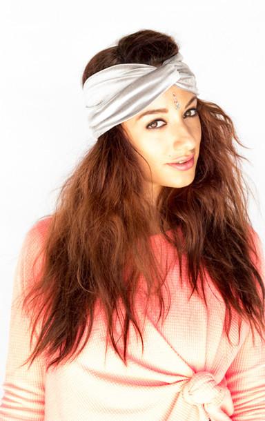 hat turban headband headband hair band boho chic bohemian velvet silver 992073a4760